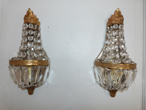 Vintage Crystal Wall Sconces : Antique French crystal wall sconces by MyFrenchAntiqueShop on Etsy