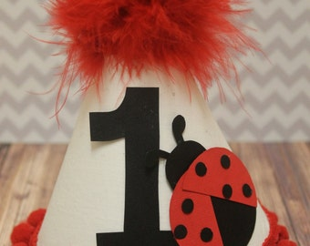 Little Lady Bug 1st Birthday Hat Cakesmash Hat in Red, Black, and White