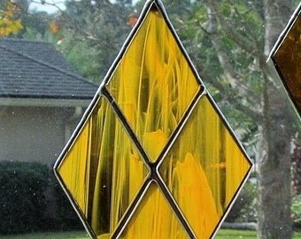 Stained Glass Amber and White Wispy Translucent Diamond Shaped Fan Pull- Unique Gift Idea -  Elegant Decor -