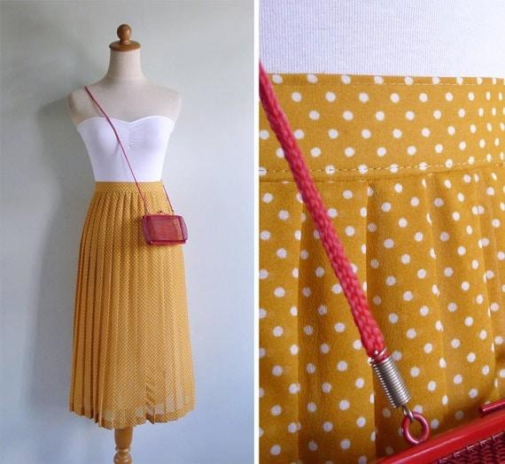 Vintage 80's Mustard Yellow Polka Dot Pleated High Waist Skirt M-L