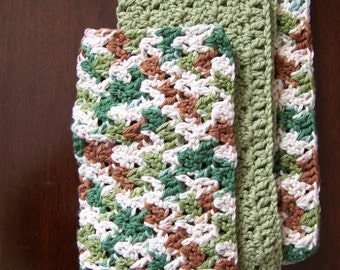 3 Hand Crocheted Cotton Dish Cloths    FREE SHIPPING