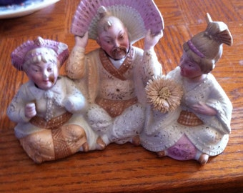 Antique Asian Chinese Japanese Porcelain Figurine with heads from 30s foo man chu