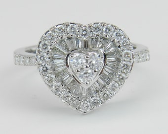 1.00 ct Heart Diamond Halo Cluster Ring Right Hand Ring 18K White Gold Size 6.75