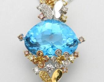 "Diamond Blue Topaz Butterfly Flower Necklace Pendant 18K White Rose Yellow Gold Chain 18"""