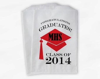 2017 Graduation Cap Personalized Candy Buffet Bags - Red Black High School Grad Party Custom Favor Bags in School Colors - 25 Bags (0060)