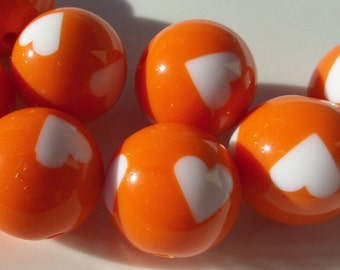 12mm, 25CT. Orange Rounds with Heart for Chunky necklace, A23