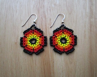 Huichol Style Flower Mandala Earrings - Fire Seed Beaded - Hand Made in USA
