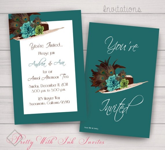 Birthday, Shower, Bachelorette Party Invitations. Kentucky Derby, Hat, Tea Party, Teal, Peacock. Samples/Printing/Digital Files Available