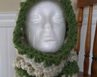 FREE SHIPPING-Crochet Cozy Hooded Cowl-Hooded Scarf-Neck Warmer-In Wheat Grass Oatmeal Color-One Size-Photo Prop
