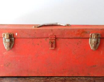 SALE Vintage Large Red Metal Tool Box