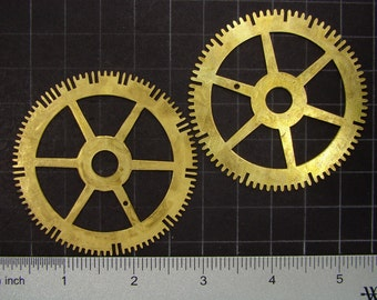2 Large vintage brass gears, antique clock movement gears, brass clock wheels Steampunk Supplies 3652
