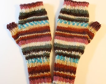 Colorful Patterned Fingerless Mittens: Ready to Ship