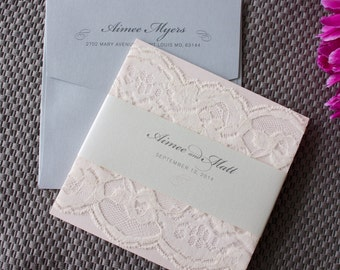 Soft Romantic Lace Wedding Invitation in Blush, Silver & Ivory