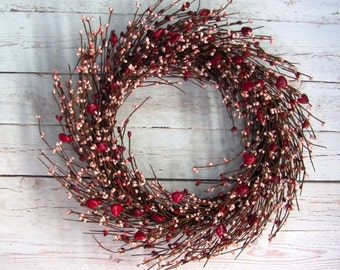 Valentines Wreath - Red Heart & Pink Berry Wreath - Front Door Wreath - Pip Berry Wreaths - Valentine Home Decor - Holiday - Valentine's Day