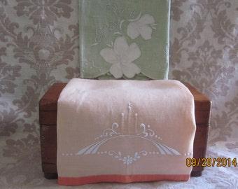 ArtDeco Linen Guest Towels,Shabby Chic Colors , Art Deco Design, vintage tea towels, peach and green,powder room, linen guest towels