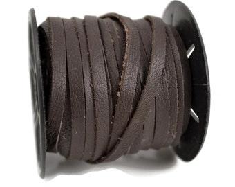 54 Ft - 5mm Flat Leather Cord - Dark Brown - Deertan Lace Water Resistant
