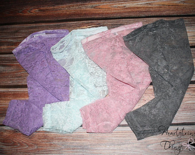 Lace Leggings, Newborn Lace Leggings, White Red Turquoise Hot Pink Cream Yellow Orange Coral Plum Purple Teal Fuschia Pink Grey