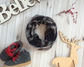 Boy Holiday Outfit/Toddler Infinity Scarf/Toddler Scarf/Little Boy Infinity scarf,Baby/ Black Plaid Scarf /Christmas Gift/Gift Under 25