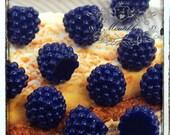 3-15 PCS X 15mm Kawaii Small Blue Raspberry Cabochons Miniature Cute Sweets Mini Fruit Diy Dollhouse Decoration Material Embellshiment FR03L