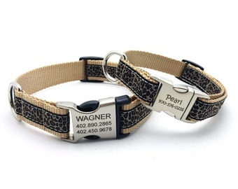 Leopard Print Dog Collar with Laser Engraved Personalized Buckle