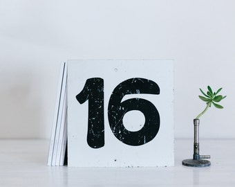 vintage metal number sign - sixteen