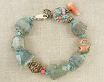 Aqua Gemstone Bracelet, Chunky Gemstone Bracelet Aqua Agate Bracelet Aqua Coral Bracelet Aqua Silver Boho Bracelet 7 1/2 to 8 Inches |BC2-16