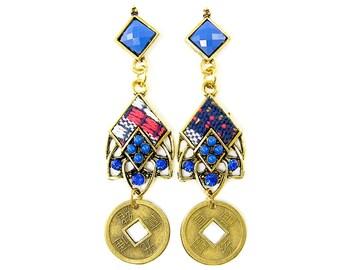 Blue Tribal Earrings Kente Cloth Ethnic Coin Dangle Drop Earrings