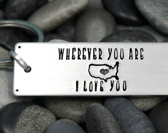 Personalized Keychain -  Hand Stamped Key Chain - I Love You - Long Distance Relationship Gift - United States - Valentine's Day Gift
