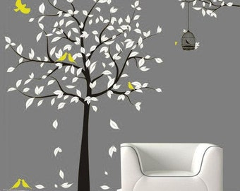 Vinyl Tree wall decals wall stickers baby decal nursery decal kids wall art wall decor murals graphic- tree with birds