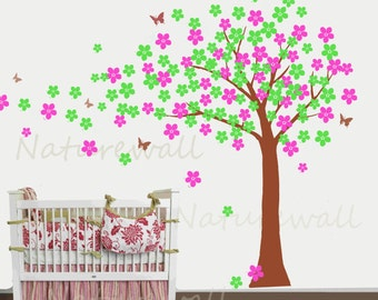 Tree decals cherry blossom wall decalsursery decals kids wall art  pink white girl wall decor wall art- Cherry Blossom Tree with butterfly