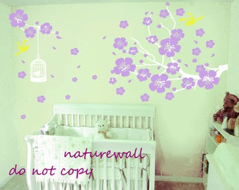 Nursery wall stickers cherry blossom decals floral decals kids  lilac flowers  white girl wall art- Cherry Blossom branch