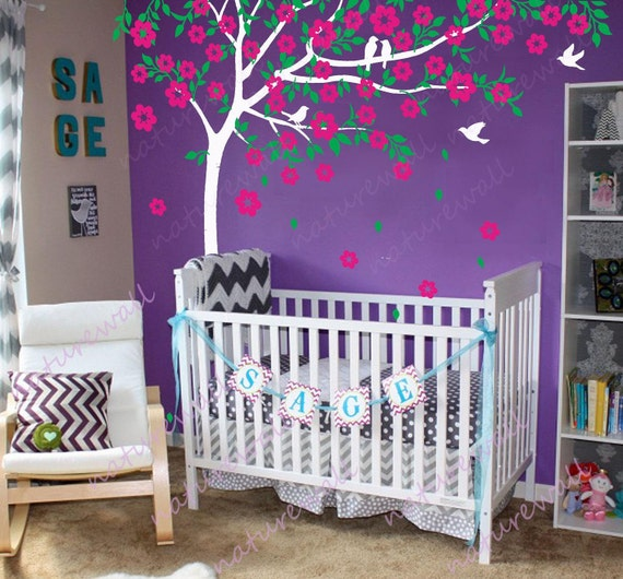 cherry blossom wall decals tree decals baby nursery kids room we wished upon a shining star baby nursery kids wall