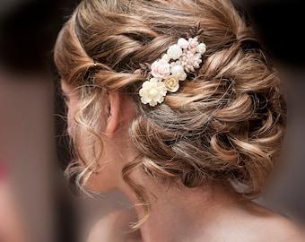 Pink Bridal Hair Comb Soft Blush Ivory Cream White Wedding Headpiece Floral Comb Vintage Style Leaf Flower Shabby Chic Romantic PM JW