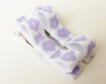 purple and white flower clips--small 2 inch pigtail hair bows-- small accessories for infant baby girls