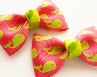 2 hair bows with hot pink with  lime green whales-- preppy sumer time tuxedo style accessories --2.5 inch pigtail matching set