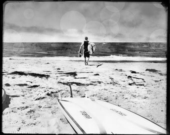 Black and White Surfing Photo, Surfing Wall Art, Retro Surf Photograph, Vintage Beach Wall Art