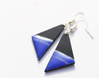 recycled earrings vinyl earrings black and blue earrings triangle earrings small earrings eco-friendly jewelry minimalist jewelry gift idea