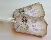 Easter Favor Tags Gift Tags Silver German Glass Glitter Pink Easter Tags Gift Tag Easter Decor Shabby Chic Decor Vintage Deco