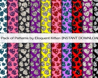 10 Digital Glitter & Sparkle Heart Patterns in Black, White, Blue, Pink, Purple, Silver, Red, Yellow