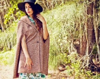 Vintage 60s Tweed Cape Brown Autumn Jacket