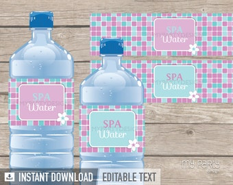 Spa Party - Bottle Labels - Pink and Turquoise - INSTANT DOWNLOAD - Printable PDF with Editable Text