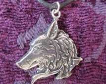 Wolf Necklace / Pewter Wolf Charm Pendant / Wolf Totem Pendant / Nature Jewelry / Wicca Pagan Celtic Wolf Pendant / Native American Jewelry