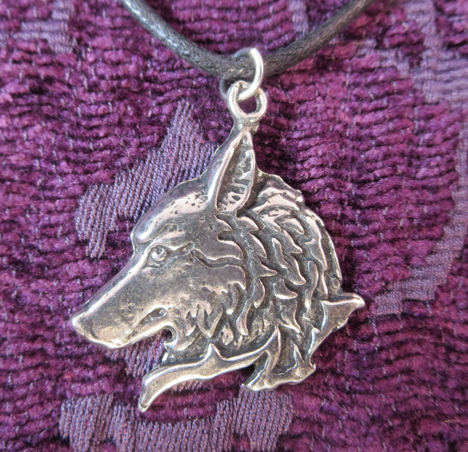 wolf necklace pewter wolf charm pendant wolf totem pendant