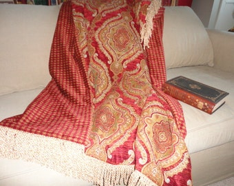 Throw Blanket, Royal Red Tapestry Chenille, Old World, Plush Medallions
