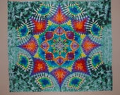 One of a Kind Giant 8ft by 7ft Handmade Mandala Tie Dye Tapestry or Great for a Bed.