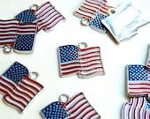 10 USA American waving flag enamel charms silver finish 23x24mm DB12154