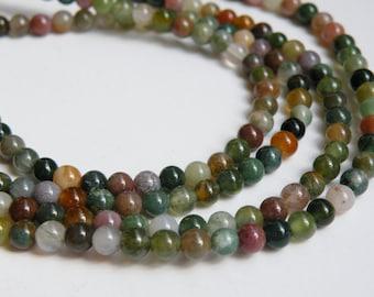 Natural earthy Fancy Jasper gemstone round 4mm full strand 1006PS