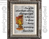 Winnie the Pooh on Being Disorganized on Vintage Upcycled Dictionary Art Print Book Art Print Surprising Discoveries Book Lover Gift Classic