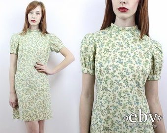 Vintage 60s Green Floral Puff Sleeve Mini Dress M Puff Sleeve Dress Summer Dress Party Dress 60s Dress Floral Mini Dress Babydoll Dress