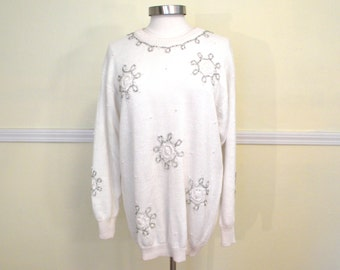 Not So Ugly Christmas Sweater / 80s Oversized Beaded Sweater Tunic / Snowflake White Ivory Chunky / LARGE XL